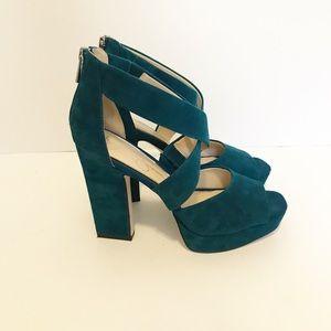 Jessica Simpson Green Blue Suede Heels